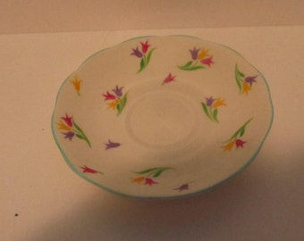 Tulips multi color  Roslyn coffee plate made in England