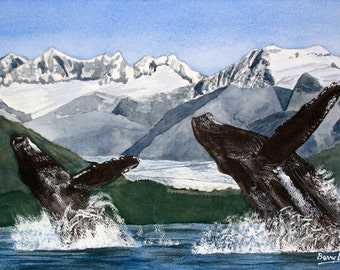 There Be Whales, Alaska, seascape, mountains, 13x19 fine art Giclee print made from original watercolor painting, unmatted