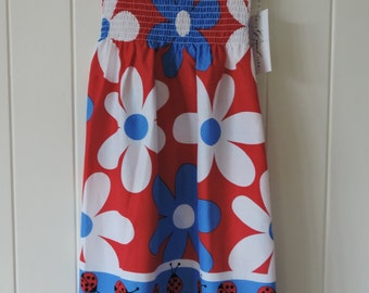 Lovely ladybugs sundress, hand-made,  super sweet print  (size 7-8). 100% cotton
