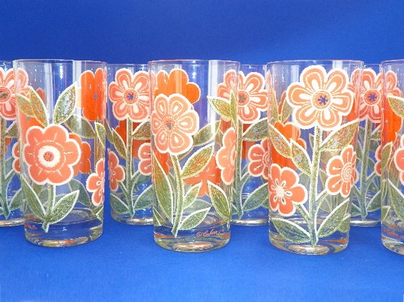 Set of 8 Culver Springtime Orange Flower Glassware