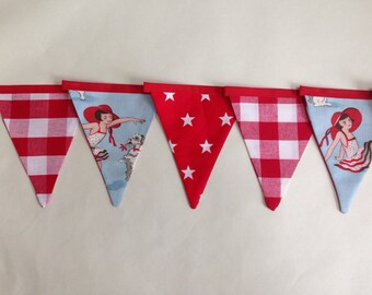 1950s Style Red Bunting - Large Check