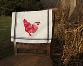 Mary Chicken Vintage-Style Tea towel : Black Stripes