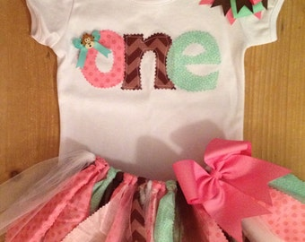 Pink, Mint Green, and Brown Monkey Birthday Tutu Outfit