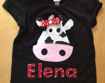 Red, Black, and White Girly Cow Shirt or Baby Bodysuit