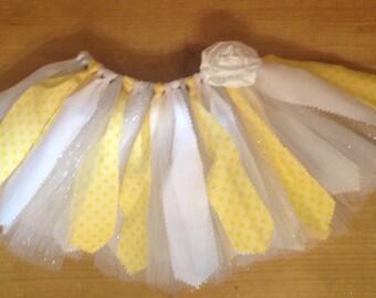 Yellow, White, and Silver Scrap Fabric Tutu
