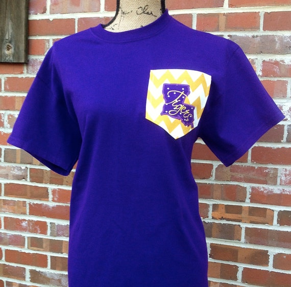 Custom lsu pocket t shirt by southernstitches956 on etsy for Custom t shirt with pocket