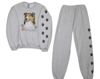 Shetland Sheepdog sheltie Sweatshirt and Sweat pants set with paw prints