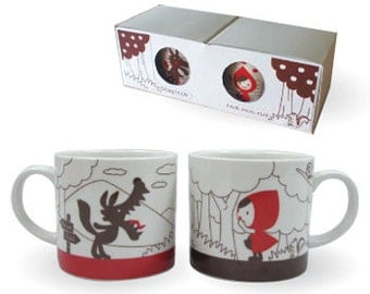Little Red Riding Hood and Wolf pair mug set