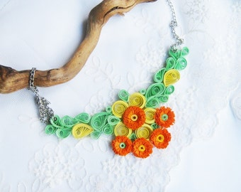 Paper Necklace, 1st Wedding Anniversary, Orange Necklace, Paper Jewelry, 1st anniversary Gift, paper gift for wife, Flower Jewelry
