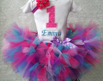 1st Birthday Tutu Outfit, Cotton Candy Birthday Outfit