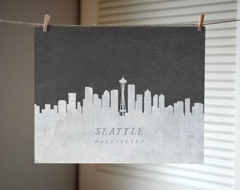 Seattle Skyline Print, Seattle Art Print, City Art Print, Skyline Art
