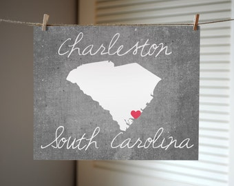 Charleston South Carolina Concrete Print - South Carolina Print - South Carolina Gift - State Print