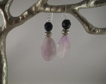 faceted amethyst, silver beads caps, faceted black onyx and sterling silver findings