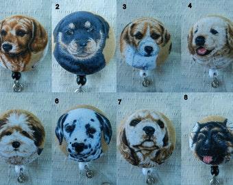 Puppies Print retractable ID Name Badge Holder Reel