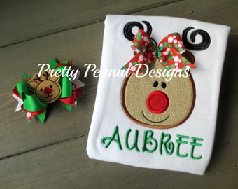 Girl Reindeer Christmas Shirt or Onesie and Bow - Girl Reindeer Christmas Shirt- Boy Reindeer Christmas Shirt - Outfit