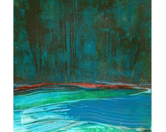 """Green River, daily painting 20th November, 2014,  5"""" x 5"""", acrylic on paper,by F. E. Clark abstract Scottish landscape art"""
