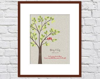 Bob Marley, Three Little Birds/ New Baby Gift/ Family Tree/ Anniversary Gift/Wedding Gift /Don't Worry/ Linen Look- 8x10, 11x14,12x16