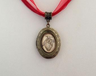 Valentine's Day Steampunk Gothic Antique Anatomy Heart Locket in Antique Bronze
