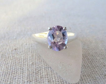 R94 Pink Amethyst Genuine Natural Solitaire Ring set in Sterling Silver