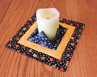 Halloween Quilted Candle Mat, Medium Black, Yellow + Orange Mini Quilt, Centerpiece, Vase or Plant Mat, Flameless Candle Mat, Hostess Gift