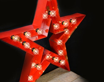 """26"""" Double Mega Star, Marquee Star, Marquee Letter, Lighted Metal MARQUEE SIGN, Marquee sign, Marquee Light Fixture: Star Marquee"""