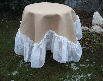 Burlap Tablecloth with  Ruffels Lice Wedding Decor Table Ruffled Burlap Tablecloth