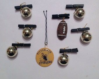 Beard Art Baubles Football Black and Gold Hipster Gift Set of 8 FTB Baubles Pittsburgh Steelers