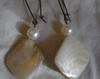 Pearl, mother-of-pearl and antiqued brass dangle earrings