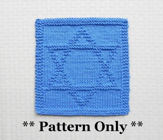 Knitted Dishcloth Pattern With Star : Knitted Dishcloth Pattern STAR of DAVID Pattern PDF