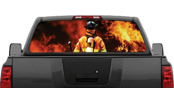 Firefighter Flames Fire Rear Window Graphic Decal For Truck
