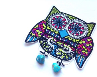 Baby Wise Owl turquoise rock hoops: Limited Edition Owl series #2
