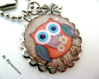 My lovely owl ... VN212 - pendant necklace - charm necklace - silver necklace - gift under 20
