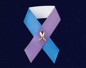 Satin Blue & Purple Ribbon Pin (RE-P-07-29)