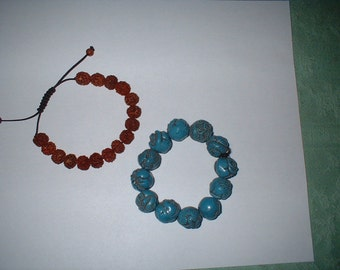 2 Vintage Tibetan Beaded Bracelets crimson seeds turquoise animals