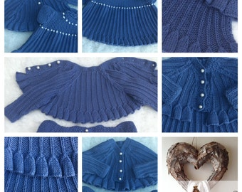 BABY GIFT Knitting Pattern Knit for  Baby shower PDF Knitted Baby Dress Cardigan