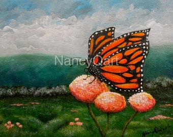 Butterfly painting -Monarch butterfly art - Nature art - Original artwork by Nancy Quiaoit at NancyQart