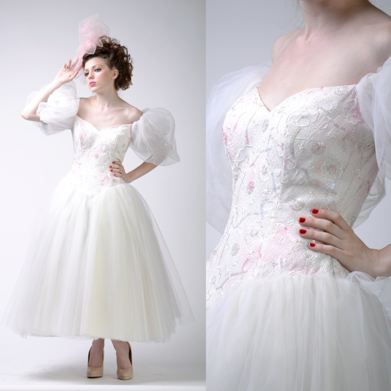 vintage 80s 50s TULLE Wedding DRESS Sequin Tulle Lace