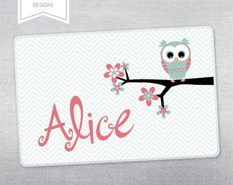 Personalized placemat for kids. Owl placemat.
