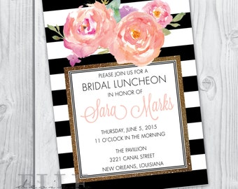 Watercolor Flower Bridal Luncheon Invitation