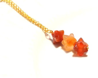 Carnelian Pendant Necklace, Tangerine pendant, Gemstone pendant, Gold pendant, Carnelian Necklace, Orange Necklace, Tangerine Necklace