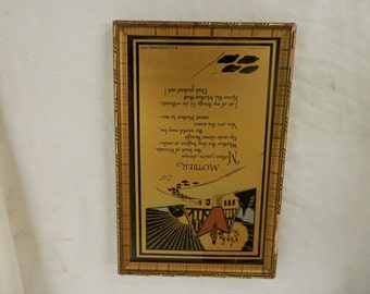 Free ship antique Mother motto poem reverse glass painting C A Richards 1930 Emma E Koehler