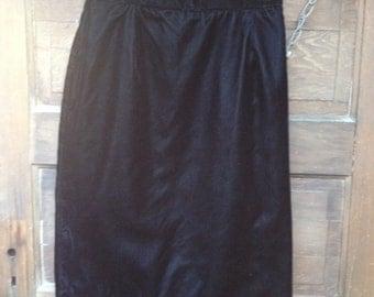 Vintage Black Velvet Pencil Skirt by Norton McNaughton size small