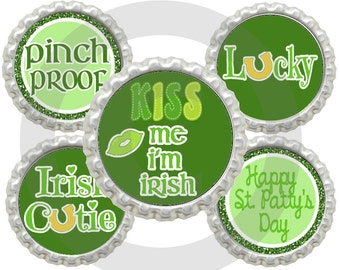 "20% OFF SALE  Instant Download Printable 1"" St. Patrick's Day Bottle Cap Images"