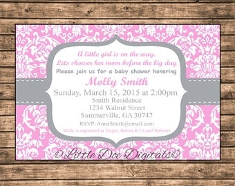 Personalized Pink and Gray Damask Baby Shower Invitation - Printable Digital File