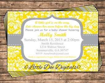 Personalized Yellow and Gray Damask Baby Shower Invitation - Printable Digital File