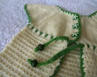 Knit baby vest, baby girls cream vest