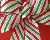 Christmas Wreath Bow - Christmas Bow With Stripes - handmade and design in 3 colors - Red-green-silver