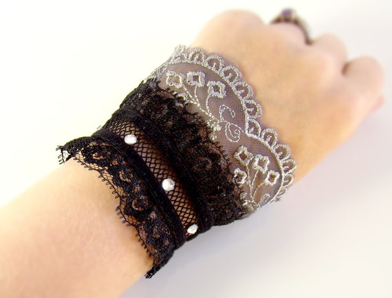 Lace Lolita Wrist Cuff Black and Gray Gothic Lace Bracelet