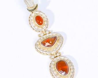 Mexican Fire 7 - Pendant - Sterling Silver and 24K Gold plating - Mexican Fire Opals