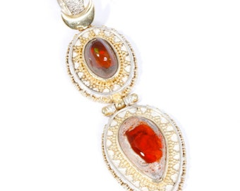 Mexican Fire 5 - Pendant - Sterling Silver and 24K Gold plating - Mexican Fire Opals